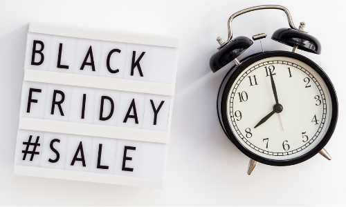 black Friday sales and alarm clock